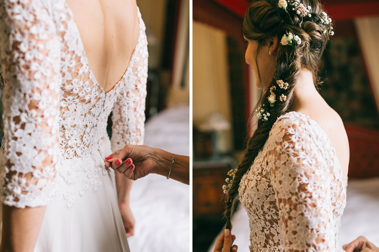 Robe de la mariée en dentelle Mariage au Chateau d'anjou en Isère photographe de mariage a grenoble et provence