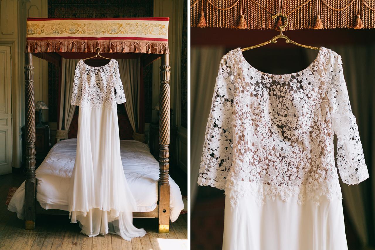 Robe de Mariée en dentelle Mariage au Chateau d'anjou en Isère photographe de mariage a grenoble
