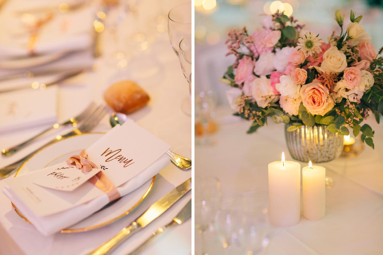 Menu et Decoration florale pour table de mariage avec des Bougies Magnifique Mariage a Paris