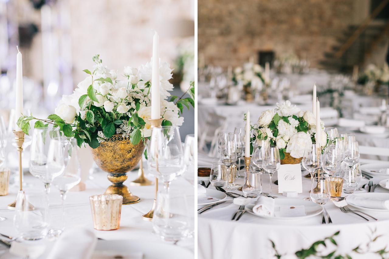 Decoration florale pour table de mariage Composition florale pour un mariage aux domaines des patras signée fleurs de fer Yeter Kurt Photography domaine de patras au coeur de la Drome provençale