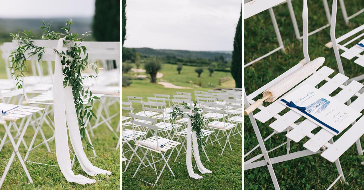 des chaises fleurie pour un mariage sous le soleil aux domaines de patras le domaine magnifique avec antoinette martin