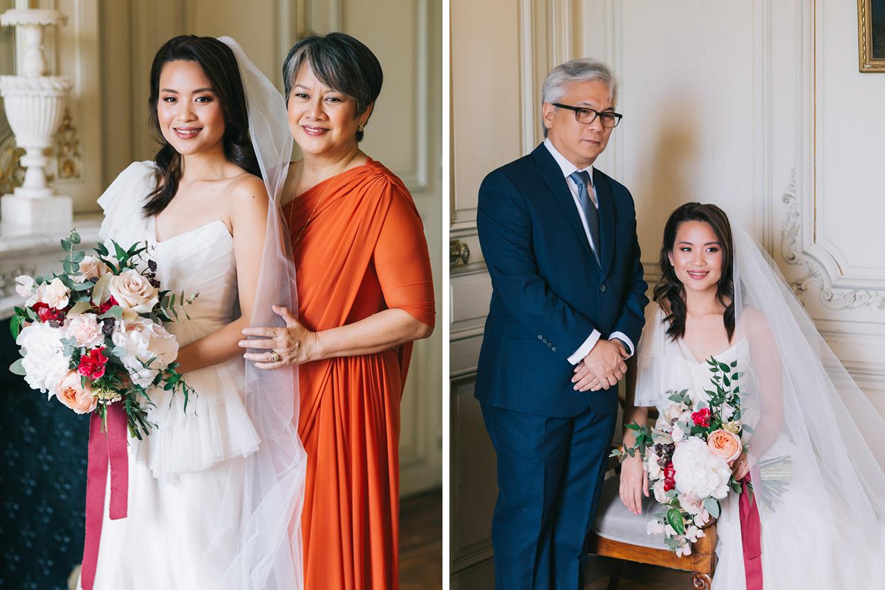 les parents et la mariée au château de varennes en bourgogne