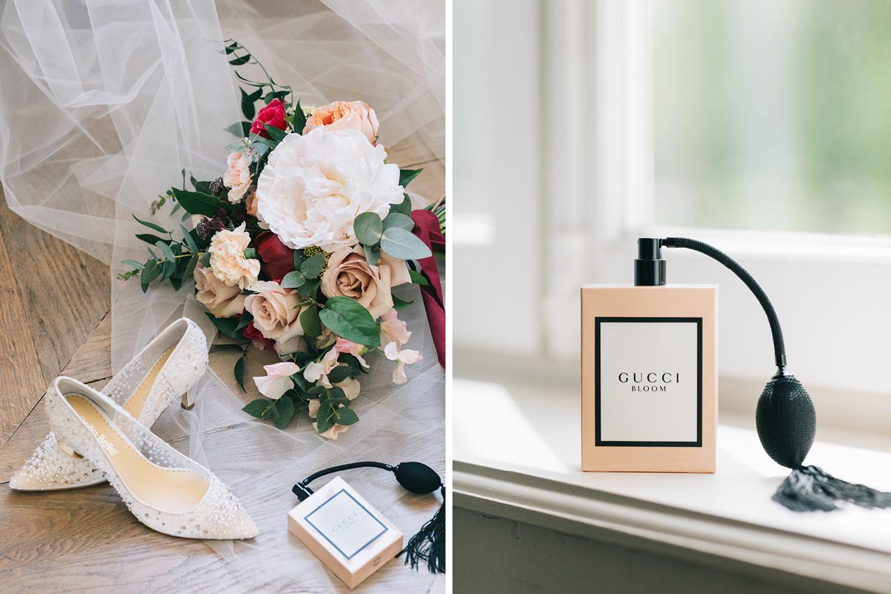 Un bouquet de fleurs signée lilawood avec Parfum Gucci UN Mariage en Bourgogne