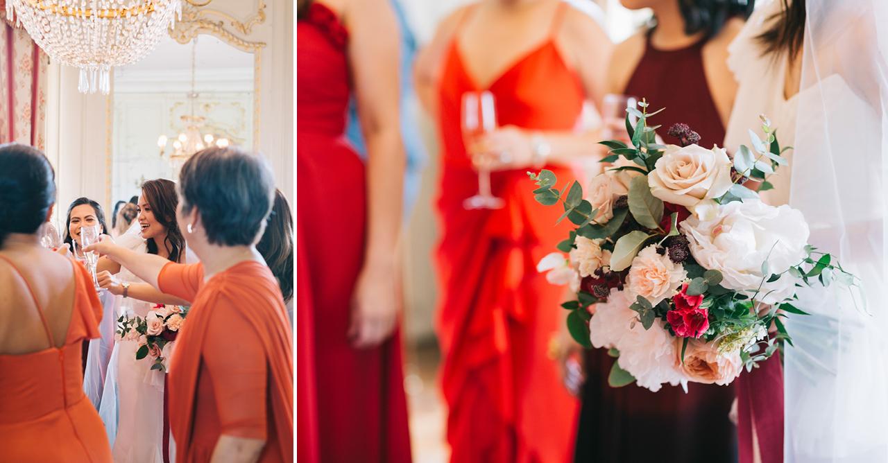 Bouquet de mariée lilawood et Demoiselles d'honneur au CHATEAU DE VARENNES en bourgogne