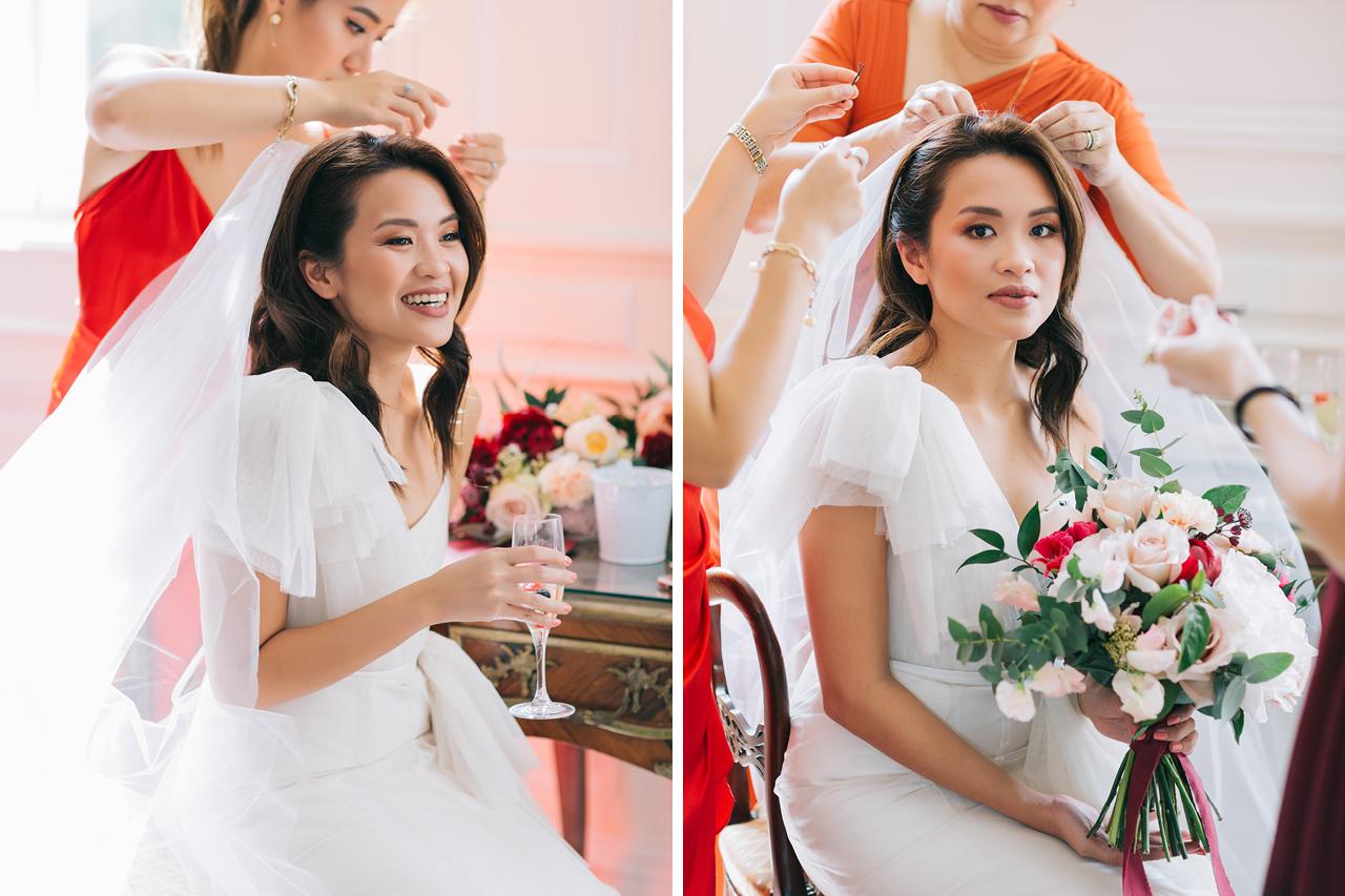 magnifique mariée pendant ses préparatifs au château de varennes en bourgogne
