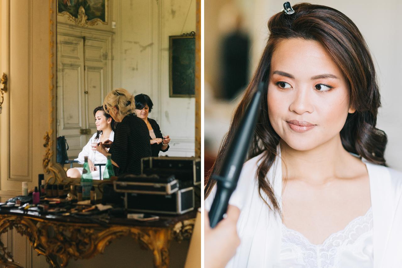 Préparatifs mariée Mariage château de Varennes en Bourgogne en france