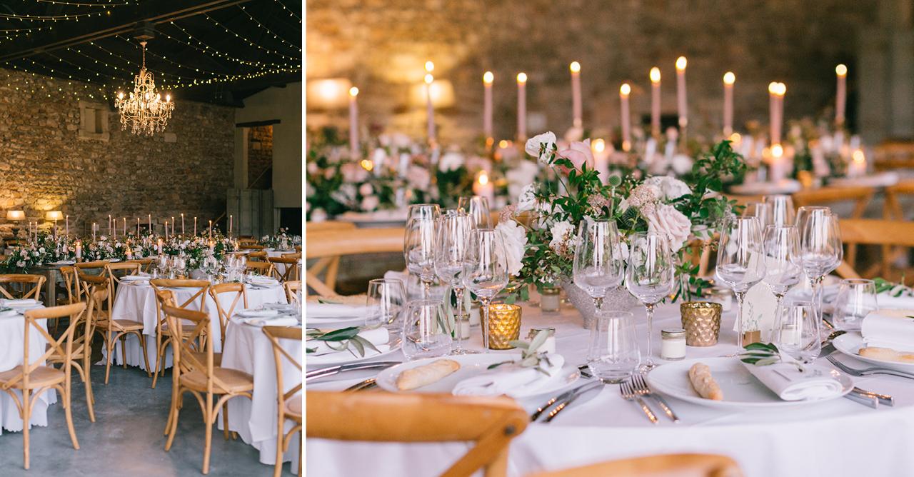 Mariage avec des Tables aux Domaines de Patras, Décoration Fleurs de Fée, Décoration Bougie, Décoration Les Domaines de Patras