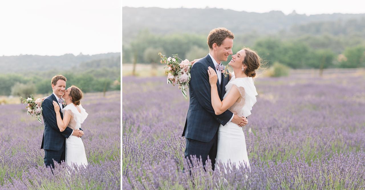 Photo de couple aux Domaine de Patras dans la Lavande en Provence, Une robe Rime Arodaky