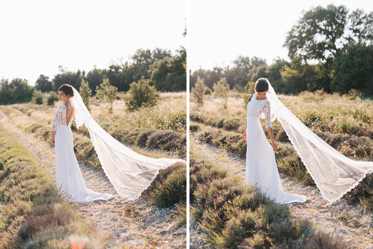 Une mariée avec sa robe de mariée Victoire Vermeulen sur Mesure Paris Domaine de Sarson