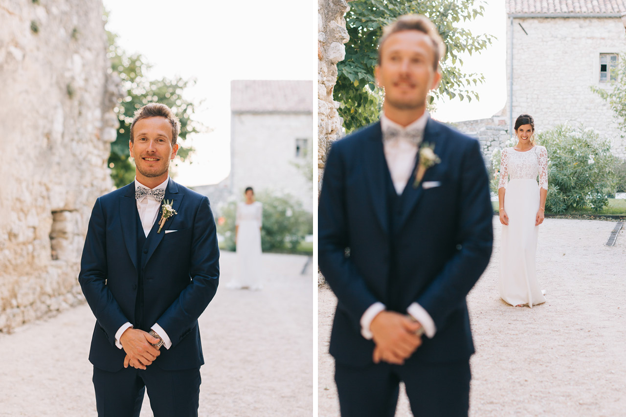 First Look Wedding Domaine de Sarson Costume Scabal sur Mesure