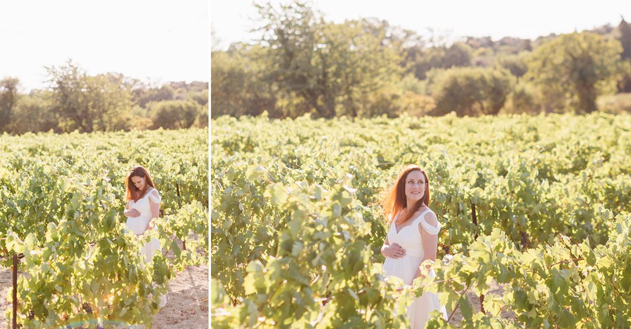 magnifique future maman dans les vignes, seance photo grossesse dans les vignes en provence