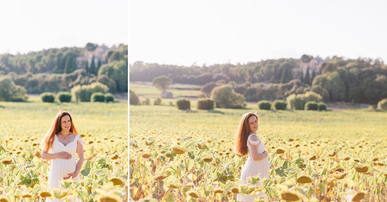 magnifique future maman dans un champs de tournesol, seance photo grossesse en provence